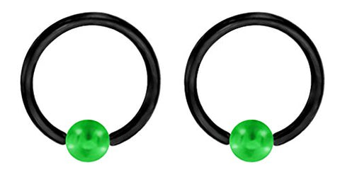 Pair of Unique Custom Black & Green Captive bead Ring lip, belly, nipple, cartilage, tragus, septum, earring hoop - 14g 1/2