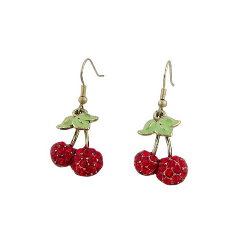 Trendy Rhinestone Cherry Earrings