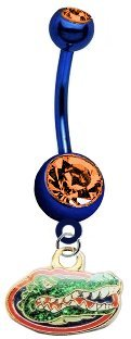 Florida Gators  Glitter Logo  PREMIUM Blue w/ Orange Gem Titanium Anodized Sexy Belly Navel Ring