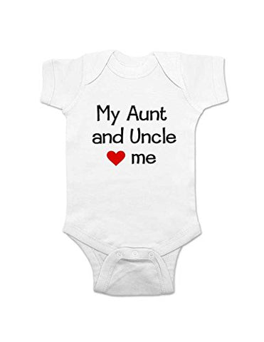 My Aunt and Uncle Love Me baby one piece bodysuit infant clothing (12 Months, White)