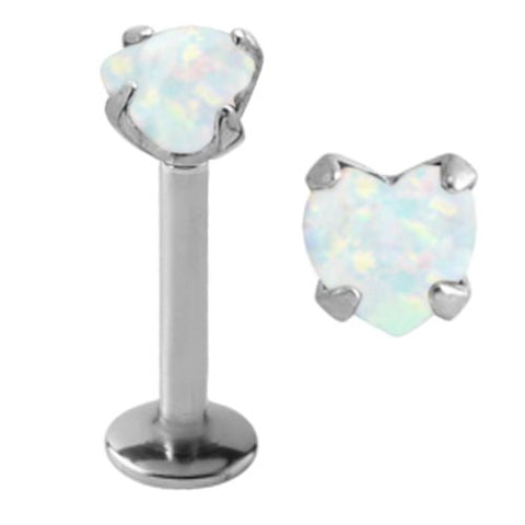 Sparkling Prong set Heart synthetic White fire Opal Internally Threaded Labret Monroe lip tragus piercing bar body jewelry Ring 16g, 16 gauge