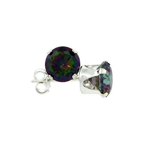 Sterling Silver Cubic Zirconia Mystic Topaz Earrings Studs multi color 1 carat/pair
