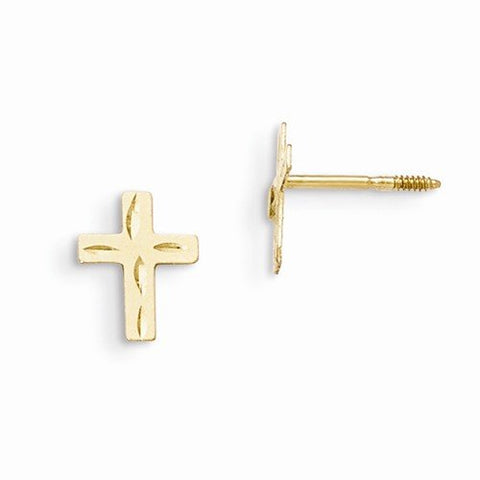 Solid 14k Yellow Gold Children Girl Baby Kids Toddler Diamond Cut Cross Crucifix Earrings (8mm x 5mm)