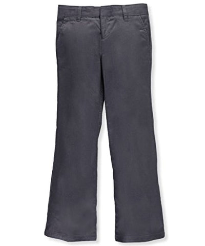 Adjustable Waist Drop Waist Flat Front Pants by French Toast - gray, 12