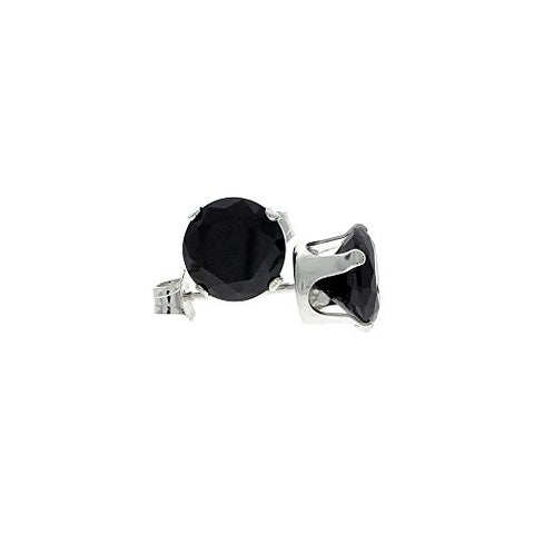 Sterling Silver Cubic Zirconia Black Earrings Studs 7 mm 2 1/2 carat/pair