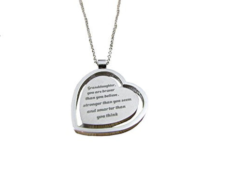 'Granddaughter, you are braver than you believe...' Heart Pendant Necklace, Gift for Granddaughter