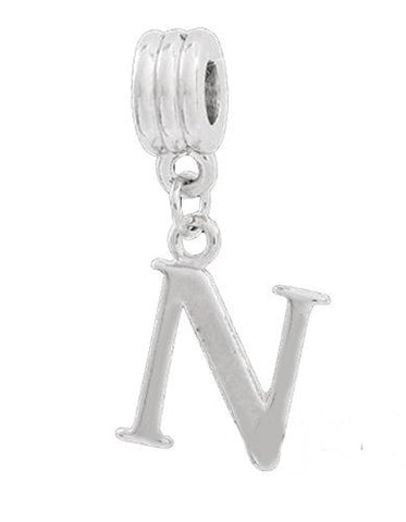 Jewelry Monster Silver Finish Dangling  Letter N  Charm Bead for Snake Chain Charm Bracelet