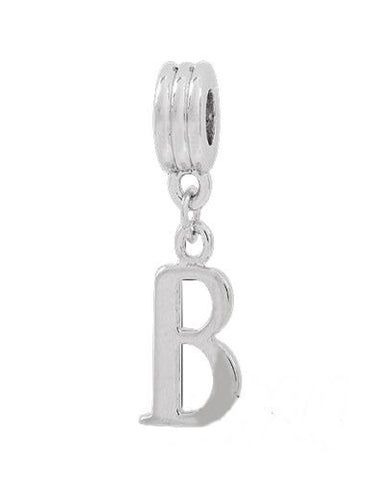 Jewelry Monster Silver Finish Dangling  Letter B  Charm Bead for Snake Chain Charm Bracelet