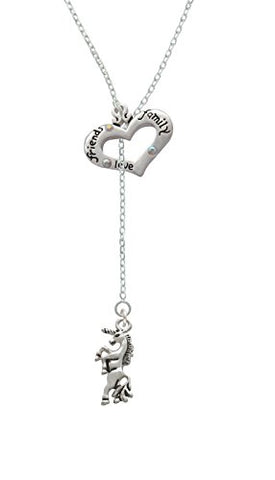 Unicorn - Friends Family Heart Lariat Necklace