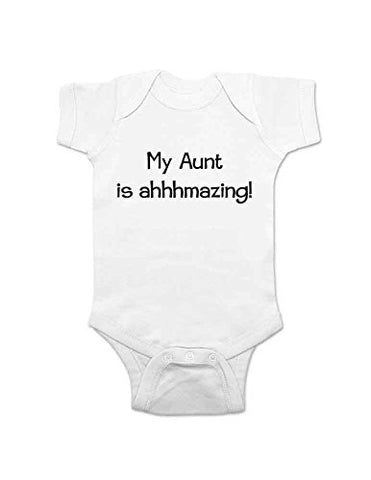 My Aunt is ahhhmazing! cute funny baby one piece bodysuit infant clothing (Newborn, White)