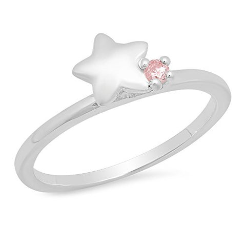 Sterling Silver Pink Cubic Zirconia Star Kid's Ring - Size 3