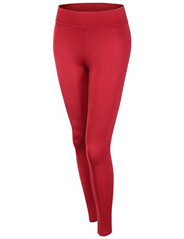 Active Basic Women's BASIC Yoga Pants (Medium, Red)