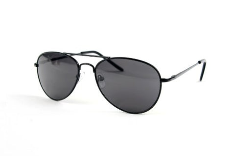 Children Metal Classic Aviator Color Lens Sunglasses P1302 (Black-Smoke Lens)