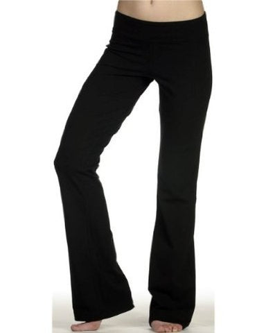 DCS Cotton Spandex Full Length Dance Workout Pant (Medium, Black)
