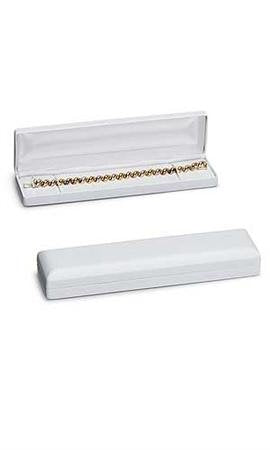 White Faux Leather Bracelet/Watch Box (10/Pack) - STOR-55327