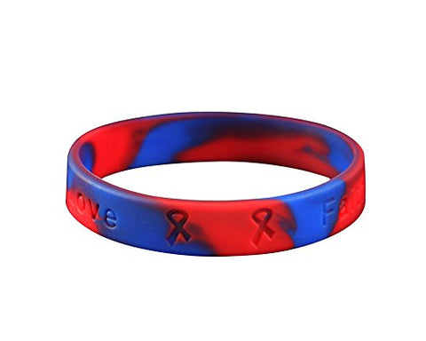 Pulmonary Fibrosis Awareness Red & Blue Silicone Bracelet (Retail)