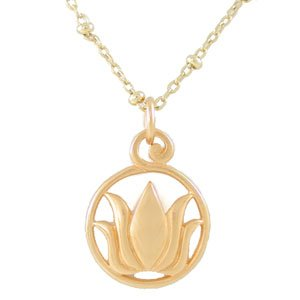 Round Cut Out Lotus Flower Pendant in 24k Gold Plated Bronze on an 18  Gold Filled Saturn Bead Chain, #8146