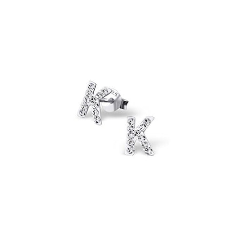 925 Sterling Silver Initial K Crystal Ear Studs Crystal