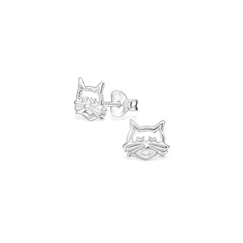 925 Sterling Silver Cat Face Plain Ear Studs