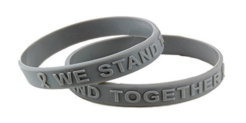 Gray Awareness Embossed Silicone Bracelet Child/Youth