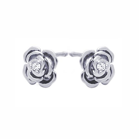 Sterling Silver Rhodium Plated Rose CZ Stud Screwback Earrings