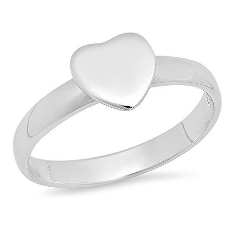 Sterling Silver Kid Girls Heart Ring - Size 4