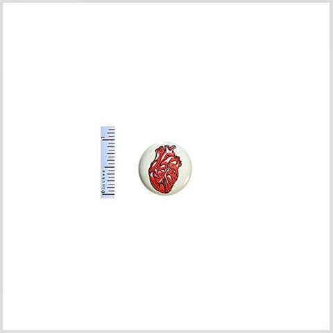 Red Anatomical Heart Button Tattoo Style Backpack Pin Rad Love Geeky Pinback 1  #20-27
