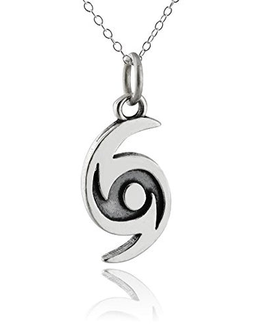 Sterling Silver Hurricane Storm Pendant Necklace, 18  Chain