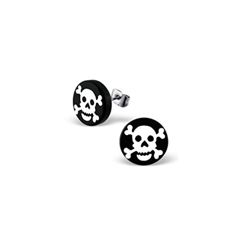 Liara - White Pirate Skull Ear Studs 316L Surgical Grade Stainless Steel + Plastic. Polished And Nickel Free