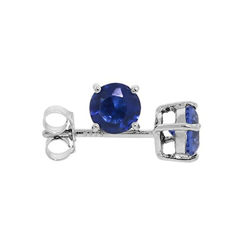 Sterling Silver Cubic Zirconia Sapphire Earrings Studs Navy Color 5 mm Platinum Coated Basket Setting 1 carat/pr
