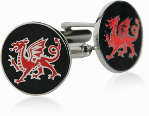Welsh Cufflinks Red and Black Dragons Cuff Links