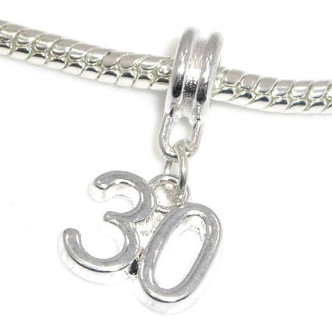 Jewelry Monster Silver Finish  Dangling Small 30  Charm Bead for Snake Chain Charm Bracelet