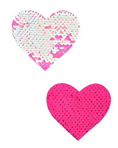 Pink and Baby Pink Reversible Sequin Heart Rave Pasties