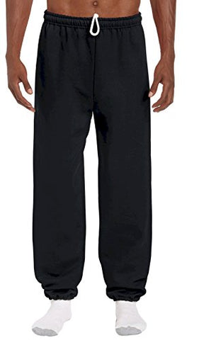 Sweat Pants Fleece Sweats with Elastic Ankle Black Large