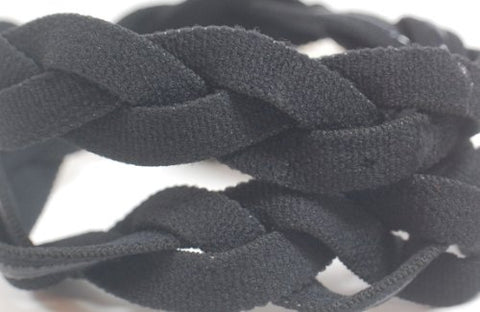 NEW! ALL Black Braided 3 Band NON SLIP Sports Headband