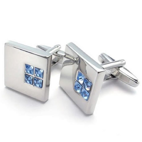 KONOV 2pcs Rhodium Plated Classic Blue Cubic Zirconia Men's Shirts Cufflinks Wedding, Blue Silver, 1 Pair