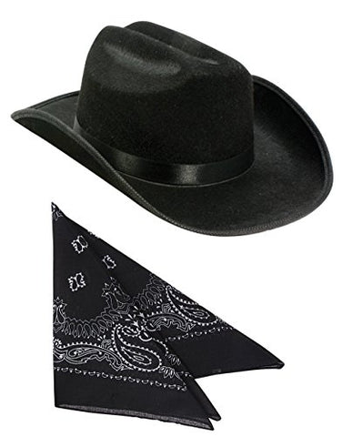 Kids Black Cowboy Outlaw Felt Hat And Bandana Play Set Costume Accessory