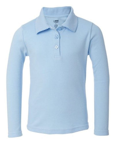 French Toast Long Sleeve Knit Polo With Picot Collar (Sizes 4-6X) - blue, 6