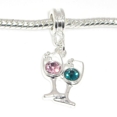 Jewelry Monster Silver Finish  Emerald & Pink Crystal Rhinestone Wine Glasses  Charm Bead for Snake Chain Charm Bracelet
