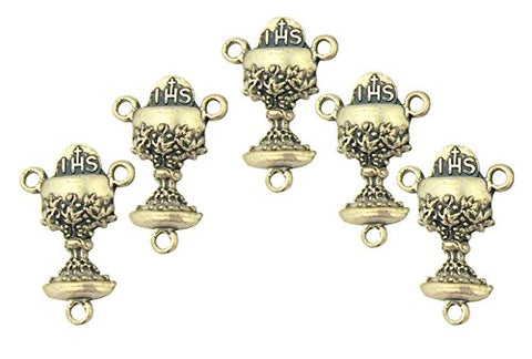 Silver Tone Chalice with Host Wheat and Grapes Rosary Centerpiece Medal, Lot of 5, 7/8 Inch