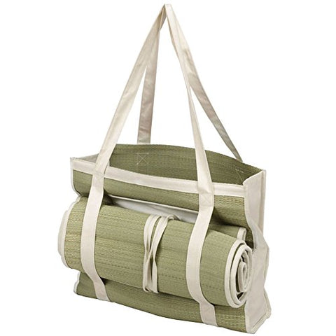 ECOLLECTION STRAW TOTE WITH MAT-NATURAL