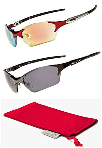 Xloop Rimless Gafas De Sol Mirror Triathlon Running Cycling Sunglasses (Red + Gunmedal)