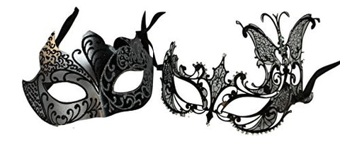 MGPS Black Silver Masquerade Couples Butterfly Mask Prom Masks
