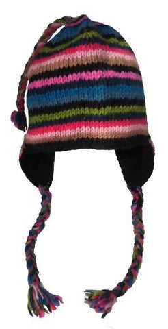Nepal Hand Knit Sherpa Hat with Ear Flaps, Trapper Ski Heavy Wool Fleeced Lined Cap (Teal & Fuchsia)