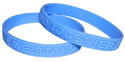 Light Blue Ribbon Awareness Embossed Silicone Bracelet Child Size