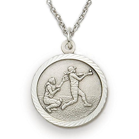 Sterling Silver Girls Softball Sports Medal with Saint Christopher Back, 3/4 Inch