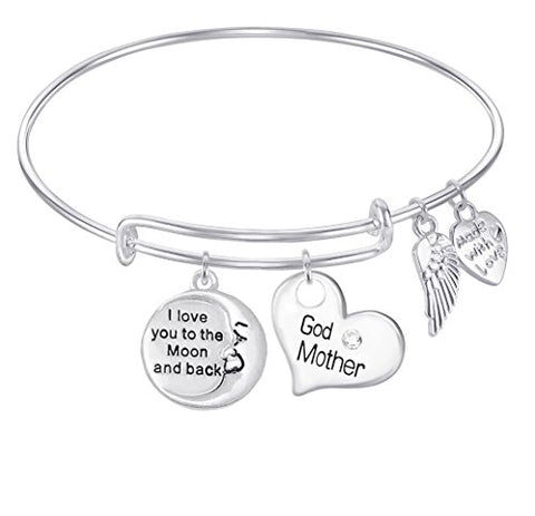 GODMOTHER I Love You to the Moon and Back Expandable Wire Bangle Bracelet For Women, Girls, Teens GIFT BOXED 1