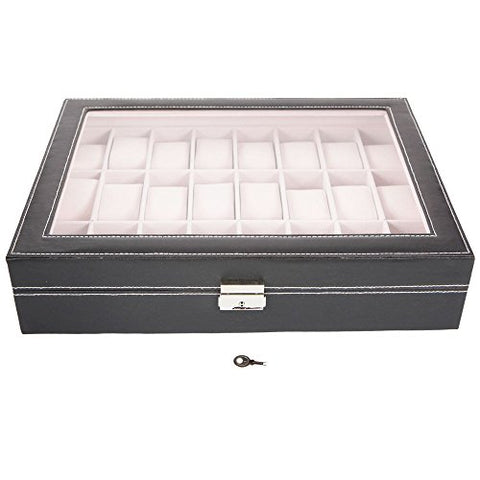 Father's Day Gift | Elegant 24-Slots Watch Box Case Organizer Display Storage Tray for Men & Women with Clear Glass Top