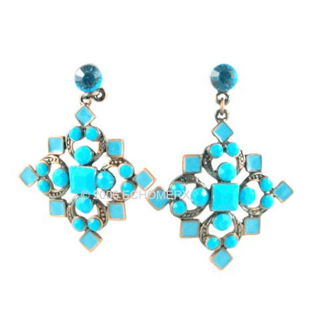 Victorian-Style Turquoise-blue Cross Earrings
