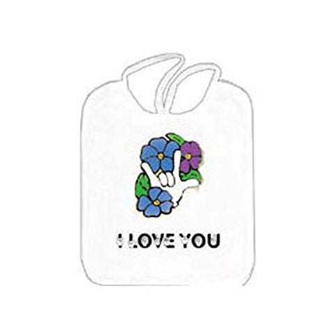 Soft Terry Cloth Bib - I Love You with Flower Design